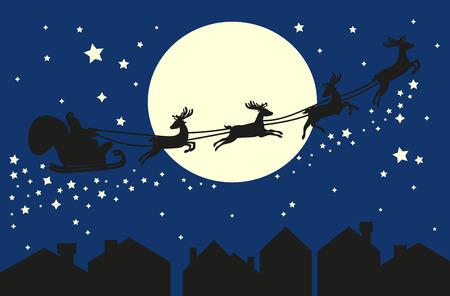 Santa Claus in sleigh. Çizim