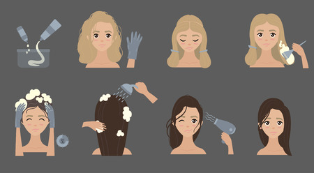 Steps to change hair color. Hair styling. Illustration