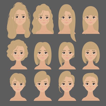 Beautiful collection of female hairdo haircut Banque d'images - 90674171