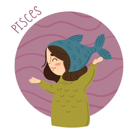 Cute zodiac sign - Pisces. Girl in Pisces costume. Vector illustration.