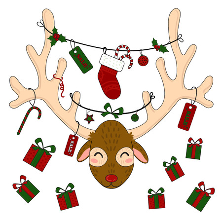 Reindeer head with christmas gift box and presents stocking. Sale tag labels