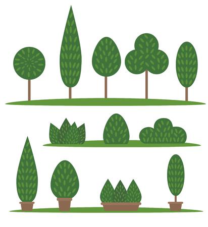 Conjunto de jardín y parque. Árboles y arbustos de dibujos animados Ilustración de vector