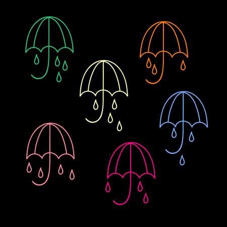 우산과 비가 아이콘을 삭제합니다. 검정색 배경에 고립 된 6 색 그림의 컬렉션입니다. 한 줄. 벡터 일러스트 레이 션.