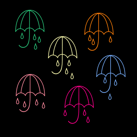 Umbrella and rain drops icons. Collection of 6 colour pictograms isolated on a black background. One line. Vector illustration. 向量圖像