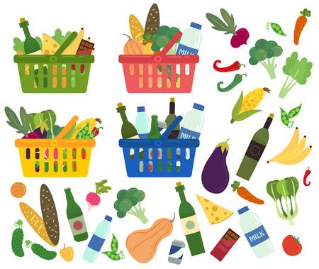 Set van winkel manden vol met biologische en gezonde voeding. Inhoud van manden. Boodschappen producten. Supermarkt. Vers biologisch eten en drinken. Vectorillustratie in vlakke stijl