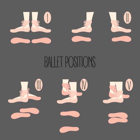 第1第3の第4と第5のバレエの位置、ポイントを持つ脚のイラスト、ダンスシューズ、5つの基本的なダンスの動きを悪魔。