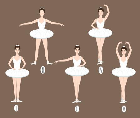 Set of ballerina dancers icon.