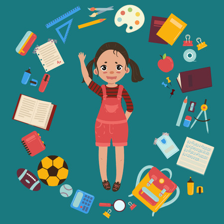 Elementary or middle school schoolgirl. Supplies from girls backpack notebooks, planner, pencil case textbook apple ball for soccer and rugby. School infographics set of elements. Vector flat style illustration Illustration