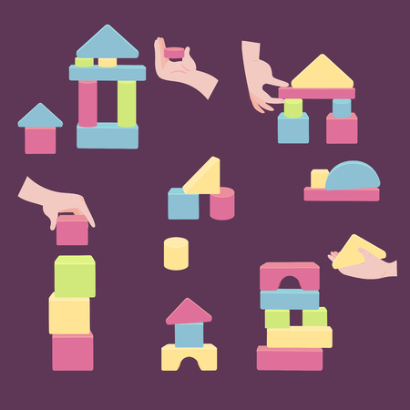Hands holding brick elements for toy. Colorful set of wooden blocks for building game tower castle and house. Coordination for children entertainment. Vector flat style illustration isolated on purple background Stock Illustratie