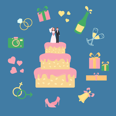 Wedding pink creamed cake with statuette of groom and bride. Icon set including champagne bell shoes hearts rings glasses, gift box and camera. Vector illustration on blue background Illustration