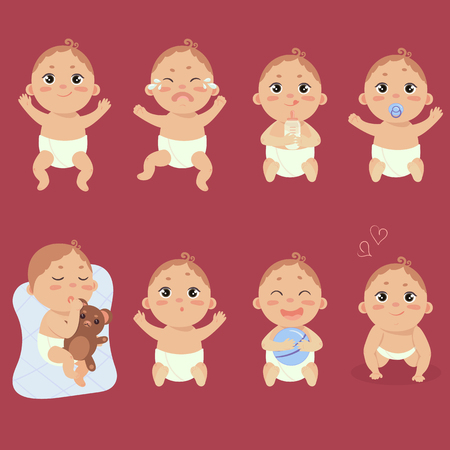 Set of babies with different emotions.
