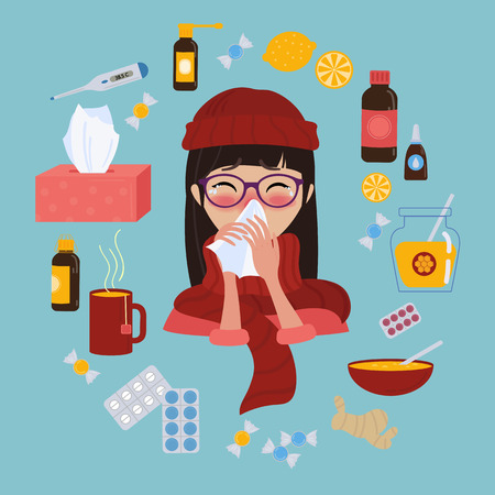 Young girl in glasses and red hat caught cold flu or virus. She has red nose, high temperature and holds handkerchief. Ways to treat illness in a circle around. Vector isolated objects on blue background