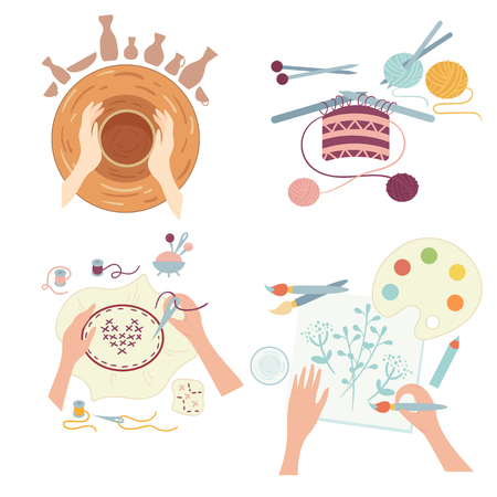 Arts and crafts. Hobby activities. Hands doing various workshops including pottery, needlework or sewing, fancywork and painting. Images of four different hobbies isolated on white background 일러스트