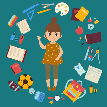 Back to school. Young girl is ready for lessons, surrounded with supplies from her schoolbag. Vector isolated illustration 向量圖像