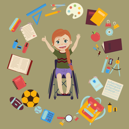 Elementary or middle school schoolgirl in wheelchair is back to school and ready for lessons. Supplies from girls backpack notebooks, planner, pencil case textbook apple, balls for sports. Happy disabled handicapped girl. Vector illustration