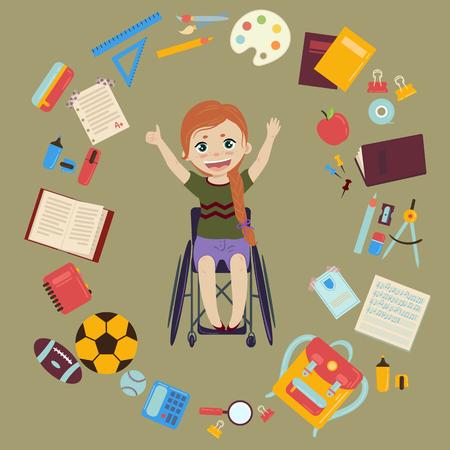 Elementair of middelbare school schoolmeisje in rolstoel is terug naar school en klaar voor lessen. Benodigdheden van meisjesrugzaknotitieboekjes, planner, pennenboek leerboek appel, ballen voor sport. Gelukkig gehandicapt gehandicapt meisje. Vector illustratie Stock Illustratie