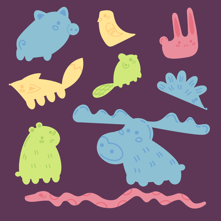 Wooden toy elements for balance tower stack game. Wood pieces isolated on purple background. Vector animals snake beaver hedgehog, fox, pib, bird, elk, and rabbit Stock Illustratie