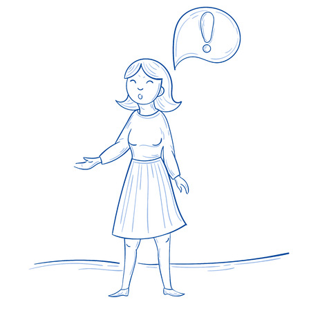 Standing woman with exclamation mark thought Illustration