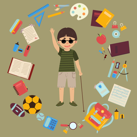 Elementary or middle school blind schoolboy with cane is back to school and lessons. Supplies are notebooks, planner, pencil case textbook, balls for sports. Happy disabled handicapped boy