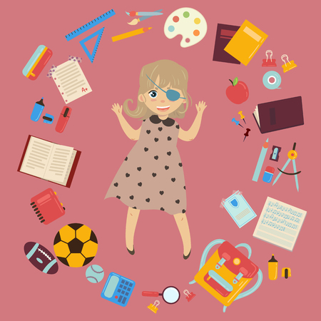 Elementary or middle school schoolgirl with eye patch is back to school and lessons. Supplies from backpack notebooks, planner, pencil case textbook, balls for sports. Happy disabled handicapped girl Illustration
