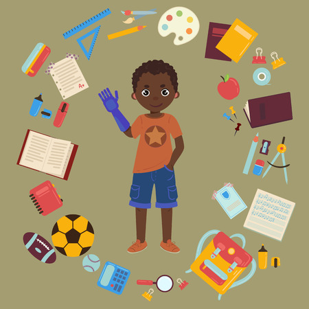 Elementary or middle school schoolboy with arm prothesis is back to school and lessons. Supplies are notebooks, planner, pencil case textbook, balls for sports. Happy disabled handicapped boy. Ilustração