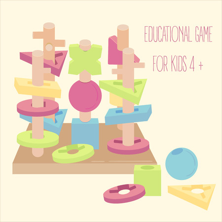 Educational learning toy for kids 4 and above age Ilustrace