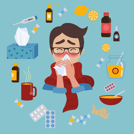 Young man in glasses caught cold flu or virus.He has red nose, high temperature and holds handkerchief or napkin. Ways to treat illness in a circle around. Vector isolated objects on blue background