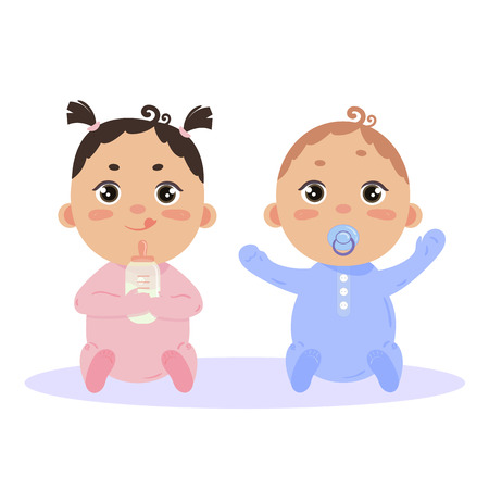 Newborn baby girl and boy in long sleeved and scratch mittens. Sitting with nipple and milk bottle. Cute little children in pink and blue isolated on white background.