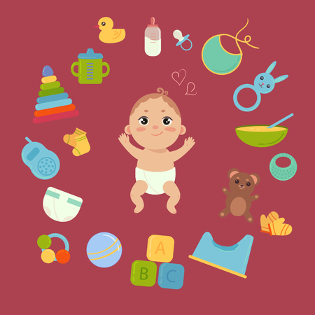 Baby boy and many elements and toys