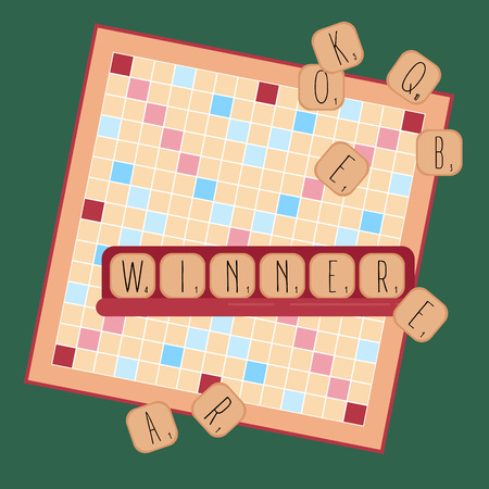 Board table wooden game for kids and adult. Making words from tile letters. Entertainment for everybody. Toy for erudition. Vector illustration