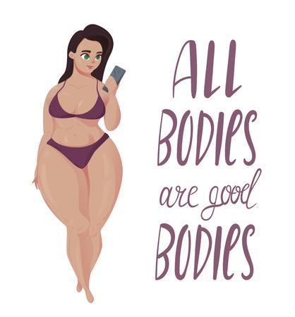 Gelukkig plus-groottemeisje met smartphone in bikini. Gelukkig lichaams positief concept. Alle lichamen zijn goede tekst.