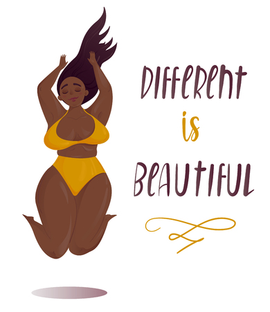 Happy jumping plus size girl. Happy body positive concept. Different is beautiful. Attractive overweight woman. For Fat acceptance movement, no fatphobia. Vector illustration on white background Vectores