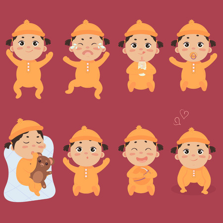 Set with cute little baby in footies with different emotions. Various face expressions of a newborn, infant cry, hold teddy bear, sleeping child, sad and crying and screaming girl colorful vector. Illustration