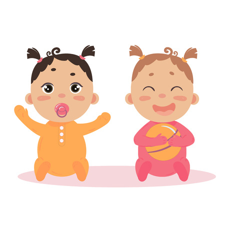Newborn baby girl twins in long sleeved footies and scratch mittens. Sitting with nipple and ball. Cute little children in pink and orange isoalted on white background Illustration