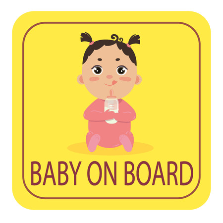 Baby in car sign. Babygirl with milk bottle in footie cloth sitting on yellow background. Safety sticker. Warning sign for vehicle. Boy on board cion for drivers with kids.
