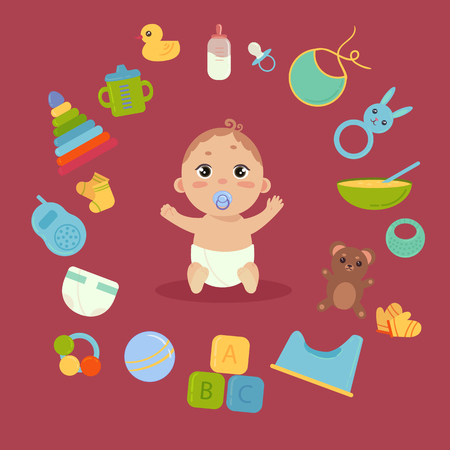 Set with cute little baby in diaper and nibble with newborn essentials in circle around. Babyboy and many elements and toys. Comforter, monitor, teddy bear, toilet, etc. Boy infant. Colorful vector.