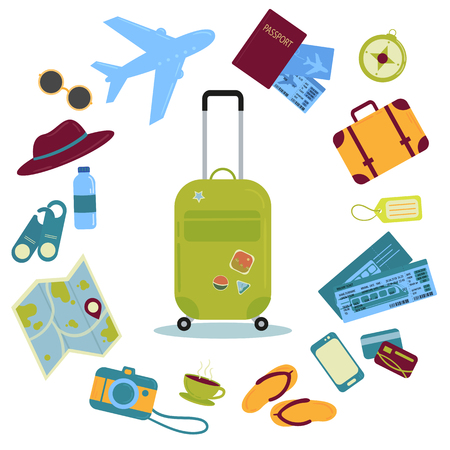 Set of travel icons. Traveler suitcase with stickers and icons. Bag, map, camera, tickets, phone, hat, airplane, compass and other. Vector objects isolated on white Vettoriali