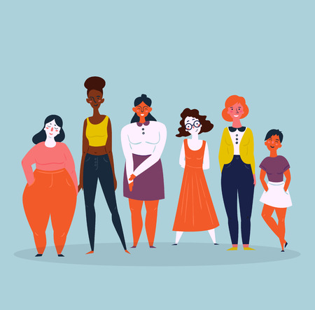 Diverse international and interracial group of standing women. For girls power concept, feminine and feminism ideas, woman empowerment and role cards design.