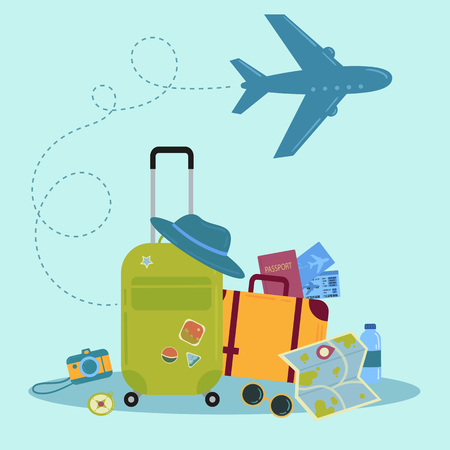 Set of travel icons. Traveler suitcase with stickers, bag, map, camera, tickets, phone, hat, airplane, compass and airplane with linear flying route, vector objects isolated on blue background.
