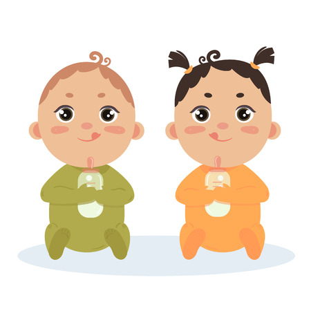 Newborn baby boy and girl twins in long sleeved footies and scratch mittens. Sitting with milk bottles. Cute little children in orange and green isolated on white background