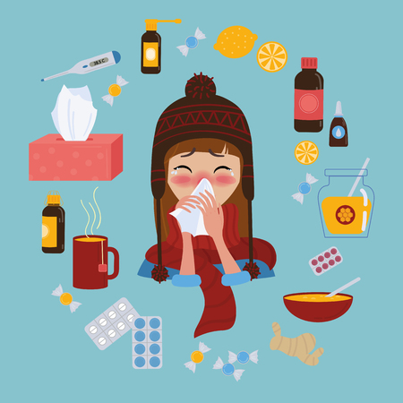 Young girl in red hat and scarf caught cold flu or virus. She has red nose, high temperature and holds napkin. Ways to treat illness. Pills, honey, tea, medicine. Vector isolated objects on background Illustration