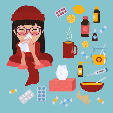 Young girl in red hat, scarf and glasses caught cold flu or virus. She has red nose, high temperature and holds napkin. Ways to treat illness. Pills, honey, tea, medicine. Vector isolated objects