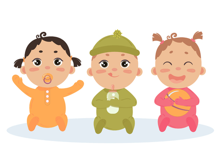 Cute vector set of three babies smiling. Baby triplets sitting in footies cloth. Newborn girl with comforter, another baby girl with ball and boy with milk bottle. Vector illustration
