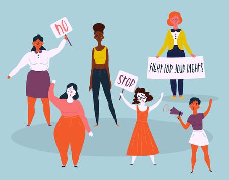 Donne manifestanti con stop e senza segni. Gruppo di persone che protestano. Combatti per il testo dei tuoi diritti. Concetto di marcia femminile femminile per diritti o contro qualcosa. Colpo interrazziale e multirazziale femminile Archivio Fotografico - 93833298