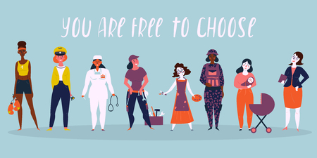 Set of women professions. Boxer, taxi driver, businesswoman, doctor, workwoman, worker, builder, mother, military woman, director. You are free to choose. For we can do it concept Vector illustration Illustration