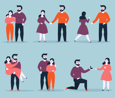 Relationship stages of young couple from dating to engagement. An offer of marriage. Romantic relationship. Man proposes a woman to marry him and gives an engagement ring. Vector cartoon illustration Illustration
