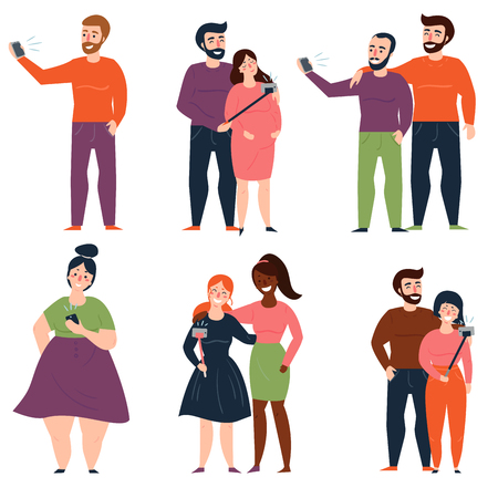 Young people and couples are taking selfie for social media, using selfie stick or holding camera in hand. Man and woman, two girls, guys, single over sized lady. Vector illustration.