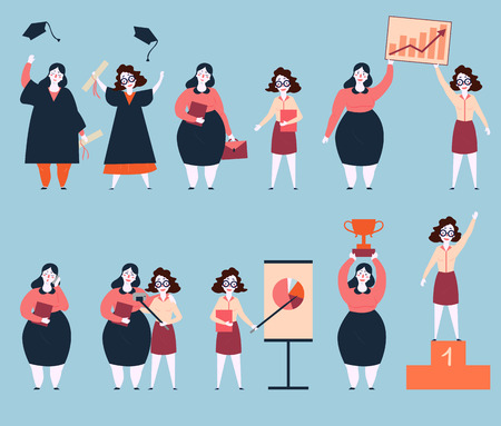 Steps to success of two woman friends. University graduation, search of work, working, graphics and analytics. Final image are life winners on pedestal base with trophy. Rapid career growth. Feminism illustration.