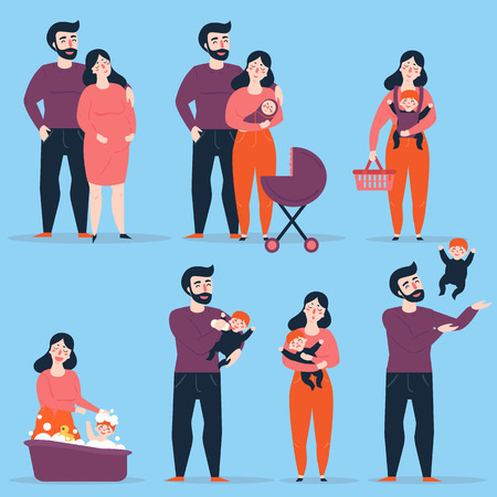 Young heterosexual couple in different family situations. Man and woman with baby and carriage, lady carry her child in slingshot, bathing her baby. Male throws kid up int the air. Vector illustration.