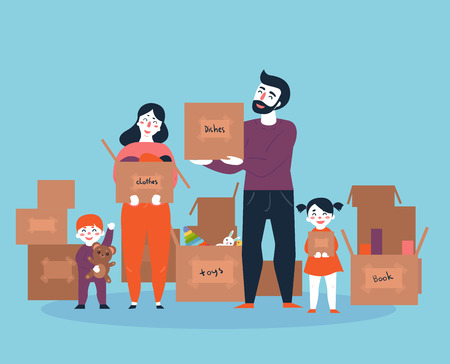 Family moving into a new house with boxes full of household things. Man, woman an their kids. Boy and girl with parents moved to new place. Cartoon illustration in flat style. Vettoriali